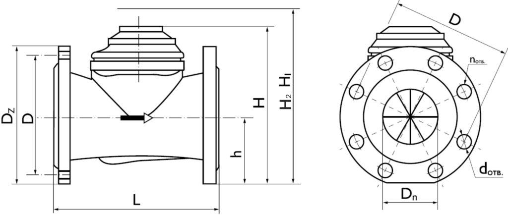 Чертеж (схема) ВСТН 40, 50, 65, 80, 100, 150, 200, 250 - турбинные