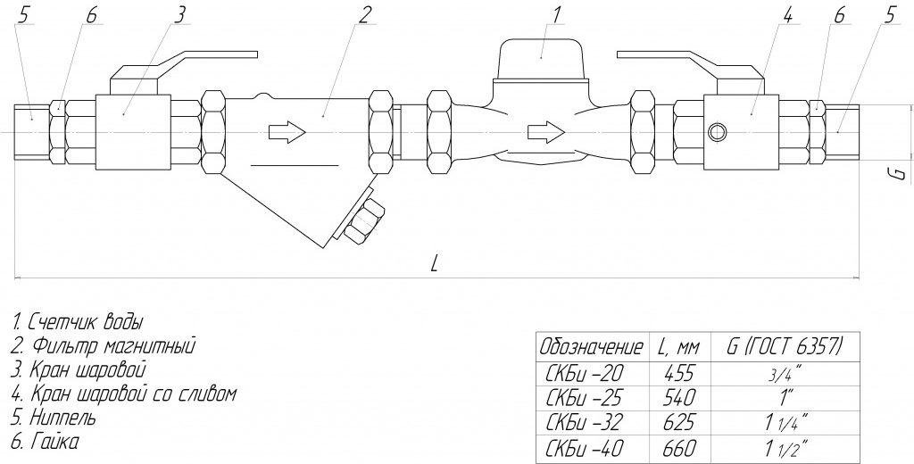 схема и чертеж водомерной вставки